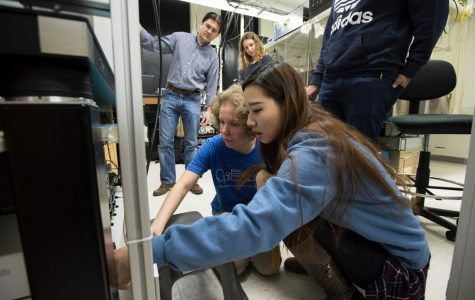 Students conduct research on-campus during a recent Winter Term.