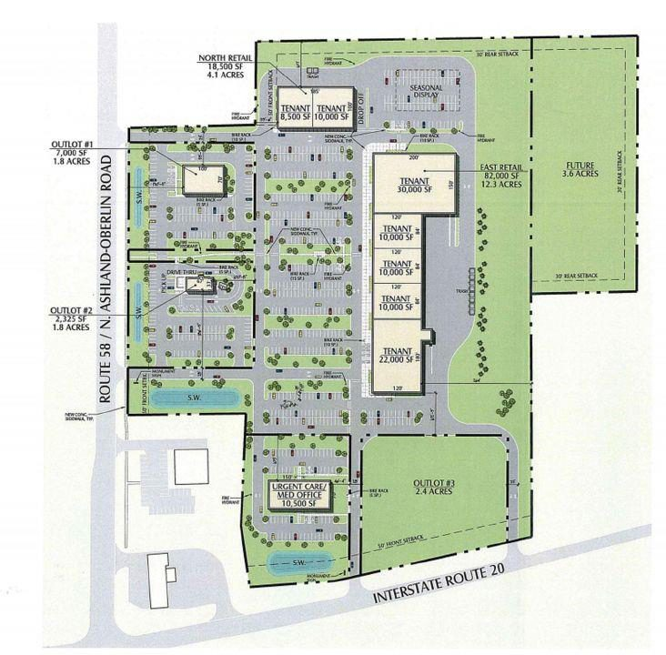 The preliminary site plan for a new shopping center at the intersection of Ohio State Route 58 and U.S. Route 20 in Oberlin. City Council voted to rezone the land for commercial development at its last public hearing.