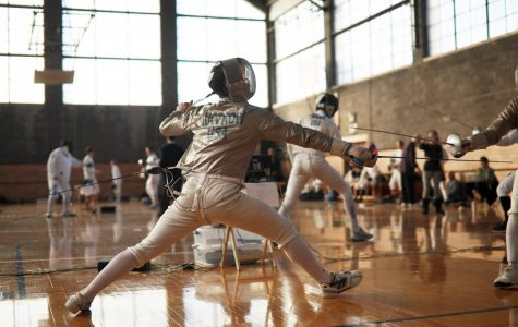 Oberlin Fencing Club hosting United States Fencing Association tournament in Hales Gym.