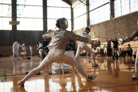 Oberlin Fencing Club hosting United States Fencing Association tournament in Hales Gym.