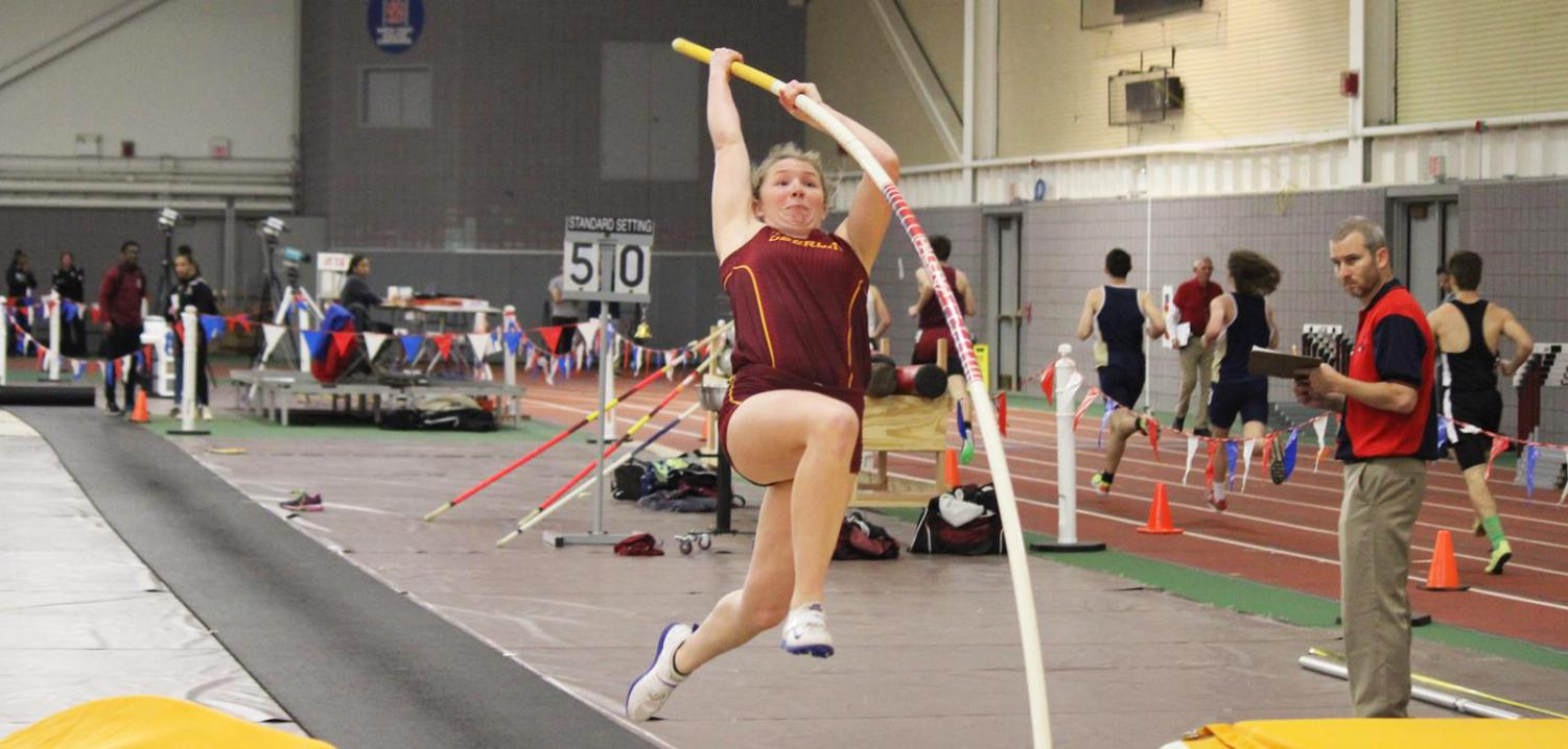 College fourth-year Grace Finney takes a final step before launching herself into the air. Photo courtesy of OC Athletics
