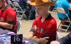 College fourth-year Charlie Rinehart-Jones in the middle of a Magic: The Gathering Pro Tour Competition. Photo Courtesy of Charlie Reinhart-Jones