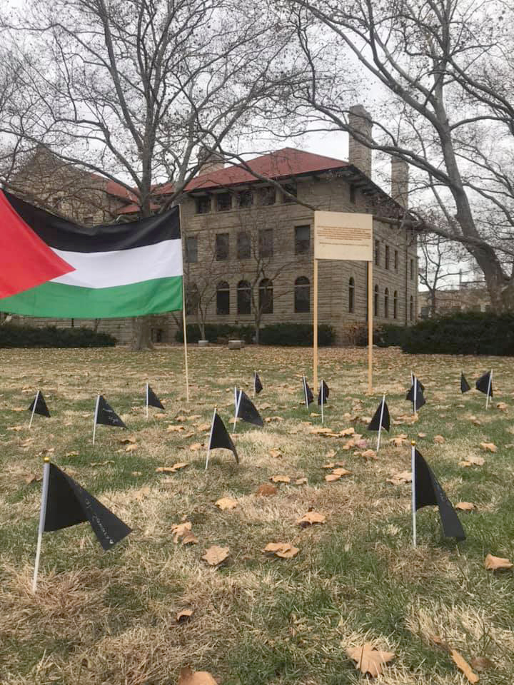 A memorial to Palestinians killed in a November attack by the Israel Defense Force was installed before Thanksgiving by student organizations Jewish Voices for Peace and Students for a Free Palestine.