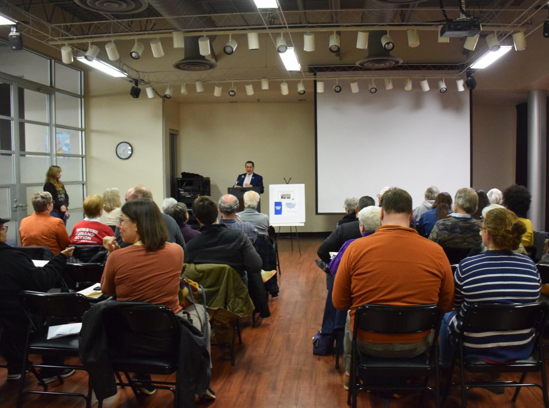 Richard Romero, U.S. Census Bureau partnership specialist, discusses the importance of Census participation at the Oberlin Public Library last Monday.