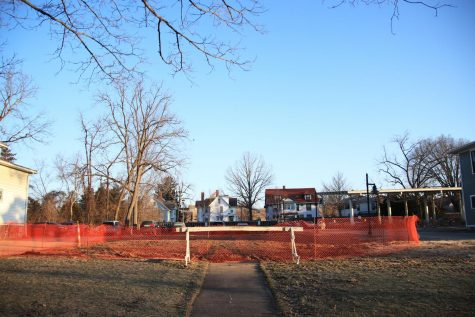 A vacant lot on Elm Street. The College has completed demolitions of seven Village Housing Units since January after filing to do so in November.