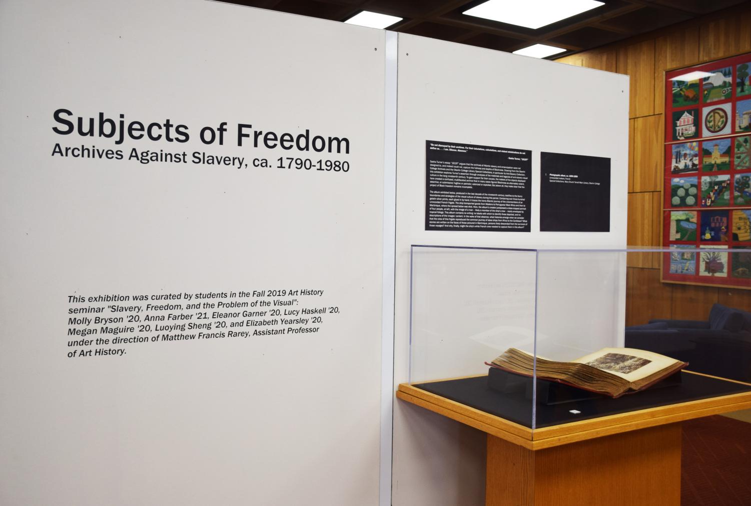 """Featuring pieces from Oberlin's Special Collections and Anti-slavery Collection, """"Subjects of Freedom"""" is a critical examination of the Oberlin's historical narrative concerning slavery and abolition."""