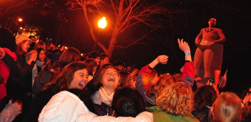 Students gather in Tappan Square in November of 2012, celebrating Barack Obama's re-election with cheers, fireworks, an impromptu jazz  concert, and a chaotic performance of the national anthem.