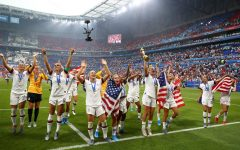 The U.S. Women's National Team celebrates a victory.