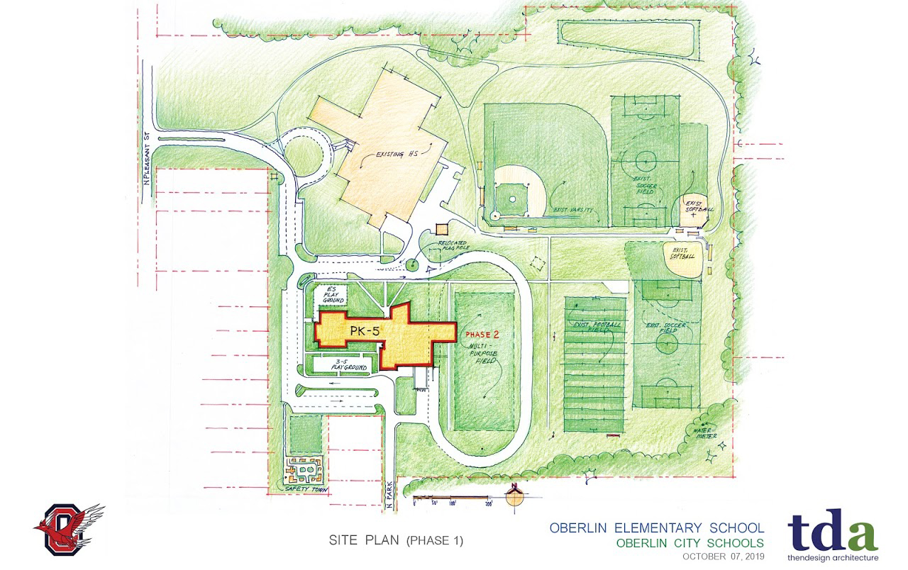 The site plan for a new school building on N Pleasant St. in Oberlin. The new building will consolidate Oberlin's four public schools, creating a space for students PK–12.