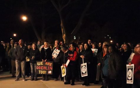 Students, staff, and community members rally at Wilder last week in support of union jobs at Oberlin.