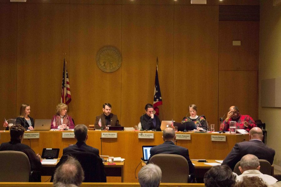 City Council members deliberate at a February 2018 meeting.