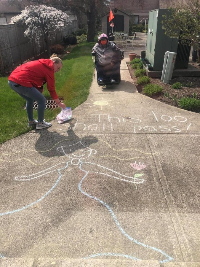 A community member created a chalk walk at Welcome Nursing Home to boost morale during a time of social distancing.