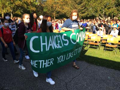 High school students rally at last September's Climate Strike.