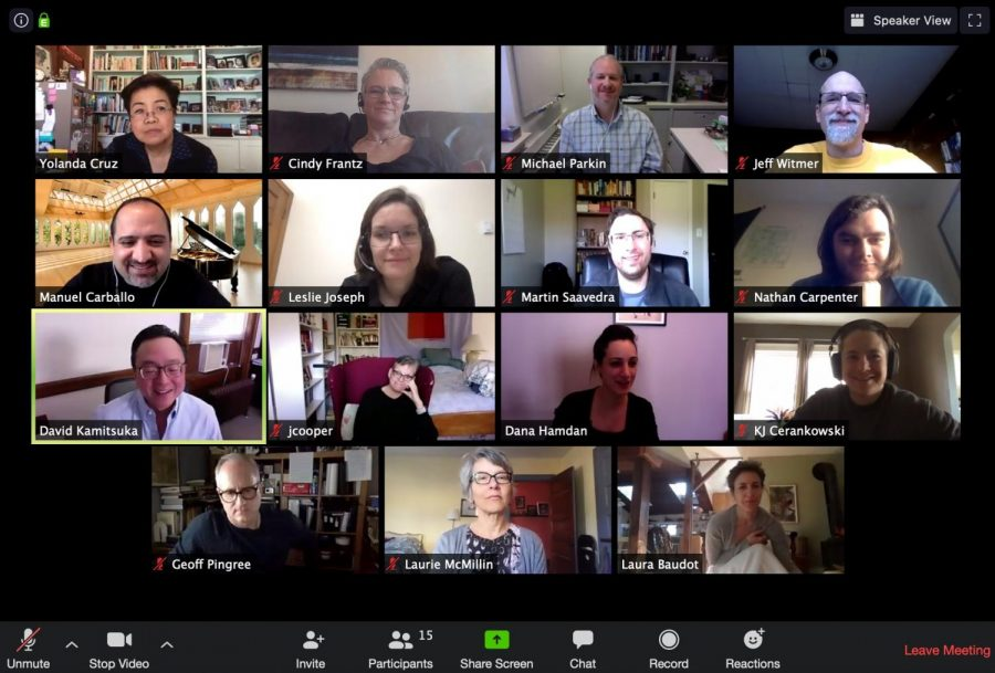Oberlin faculty and Staff meet over Zoom to plan the new Uncovering COVID-19 class for accepted students.