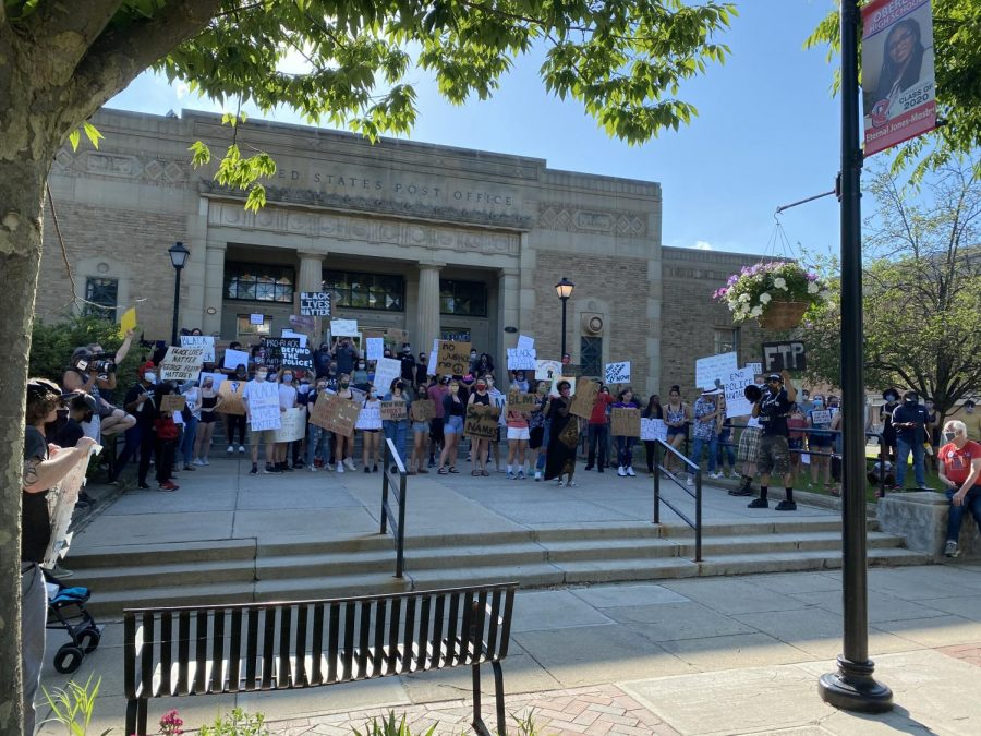 Black Lives Matter protesters marched from Tappan Square to the Post Office on June 6.