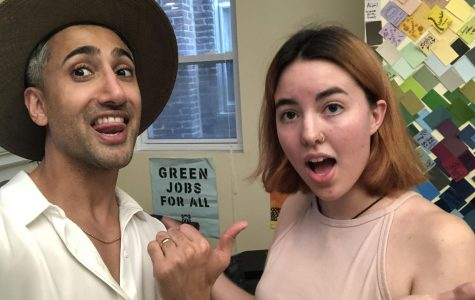 College third-year Grace Smith takes a selfie with Queer Eye's fashion expert Tan France while filming the show last summer.
