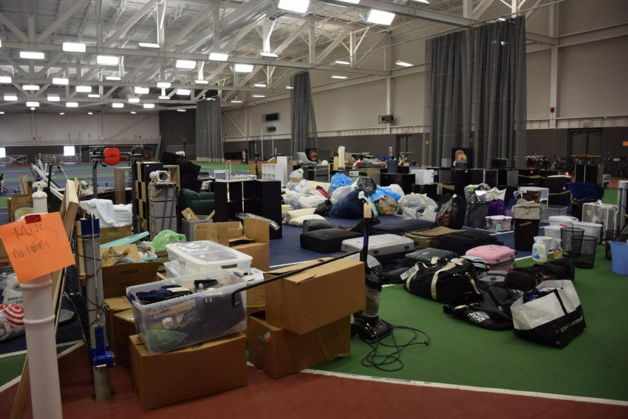 Fall semester students can visit the Williams Field House to search for their belongings among unmarked boxes.  Many items have yet to find their homes following student's abrupt departure from campus last March due to the spread of COVID-19.