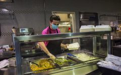 A dining hall employee works in Stevenson Dining Hall, which is now managed by AVI Foodsystems.