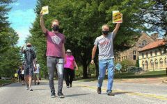 College UAW workers gathered on Aug. 15 for a socially distanced parade to say goodbye to outsourced colleagues.