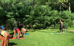 College second-year and baseball player Nick Rosa-Palermo leads a yoga session. Photo Courtesy of Nick Rosa Palermo