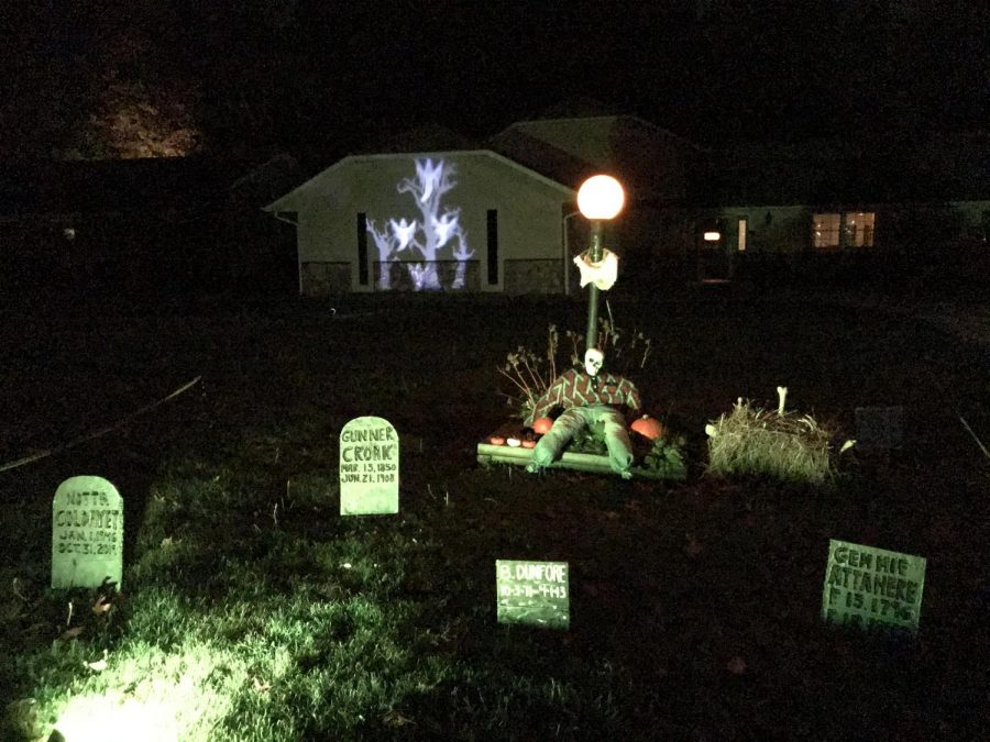 This home's Halloween decor lights up the night and may cause a fright.