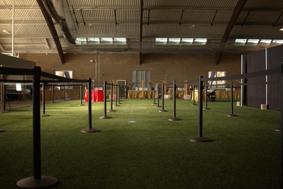 Students are tested for COVID-19 once a month at the Heisman Club Field House.