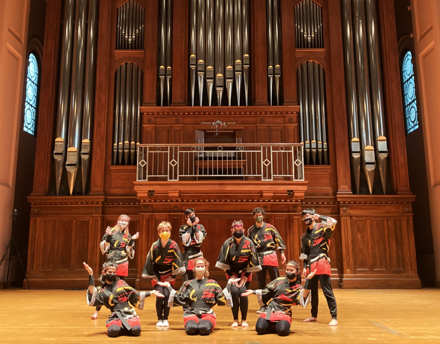 OC Taiko's eight on-campus members are ready for their virtually-accessible Fall Final Show in Finney Chapel.