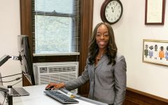 President Carmen Twillie Ambar at her treadmill desk.