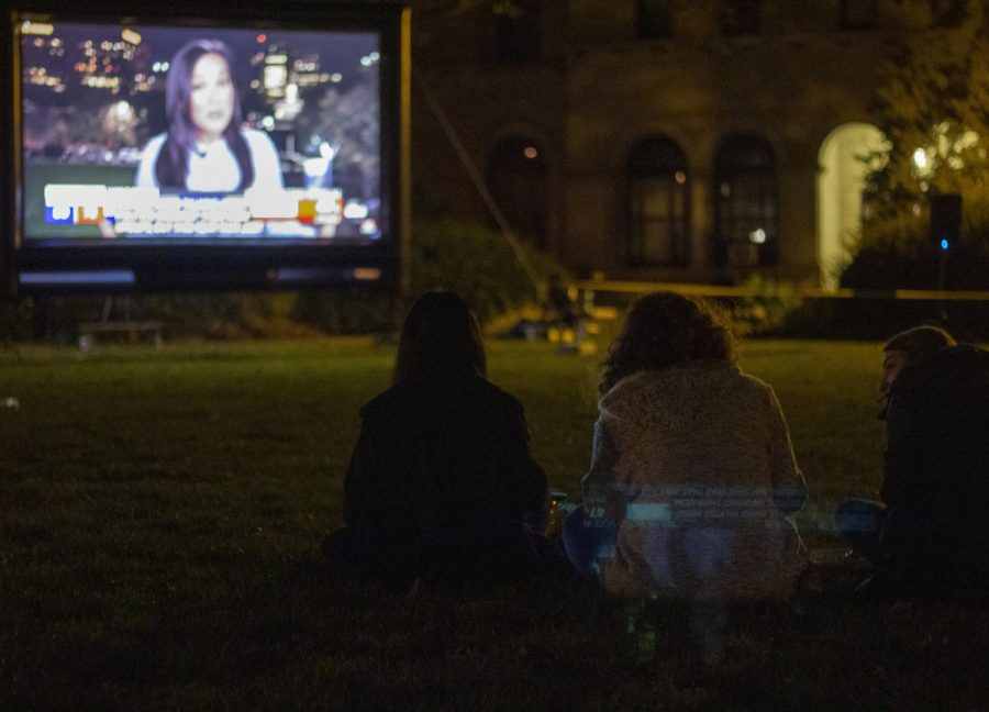 Oberlin students sitting on Wilder Bowl watched the election results roll in on Tuesday night.