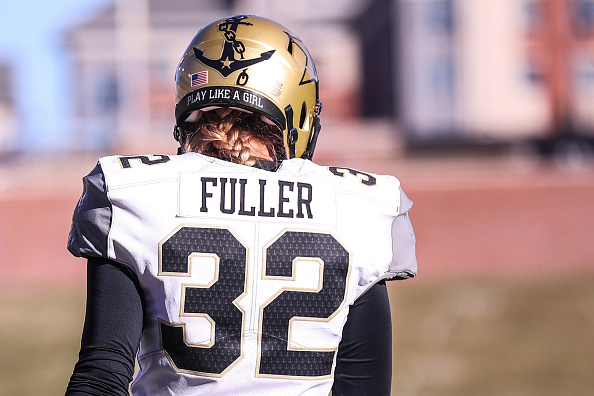 Sarah Fuller #32 of the Vanderbilt Commodores walks on the field prior to a game against the Mizzou Tigers.