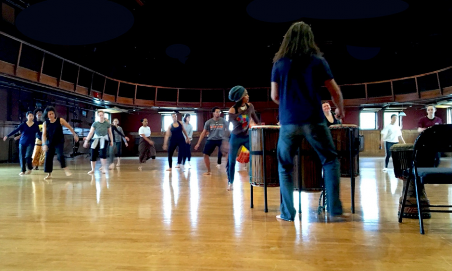 Students and professors dance in Warner Main at the Dance Ohio 5 Conference in 2019. This year, the consortium has expanded the day-long conference into a virtual symposium running over the course of the semester.