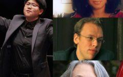 Tiffany Chang, OC '09, left. Top to bottom: Courtney-Savali Andrews, OC '04, Ilya Friedberg, OC '07, and Nicolasa Kuster, OC '93.