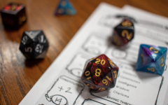 A group of students play Dungeons & Dragons in their common area. Tabletop role-playing games can foster playful, creative spaces to explore identity.