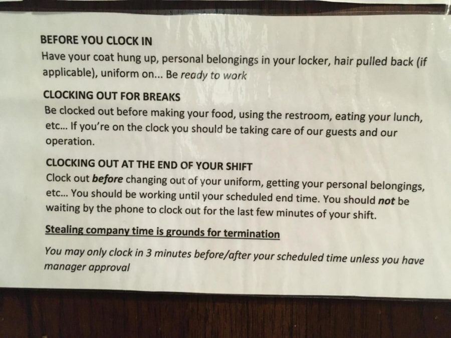 Signs like this have been posted in AVI workspaces, warning dining workers against time theft.
