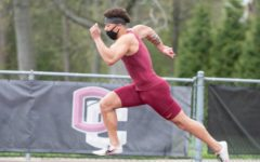 College fourth-year men's track and field sprinter Malachi Clemons.