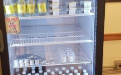 The Ramadan fridge in Decafé is often stocked with applesauce, Pepsi, and other soft drinks.