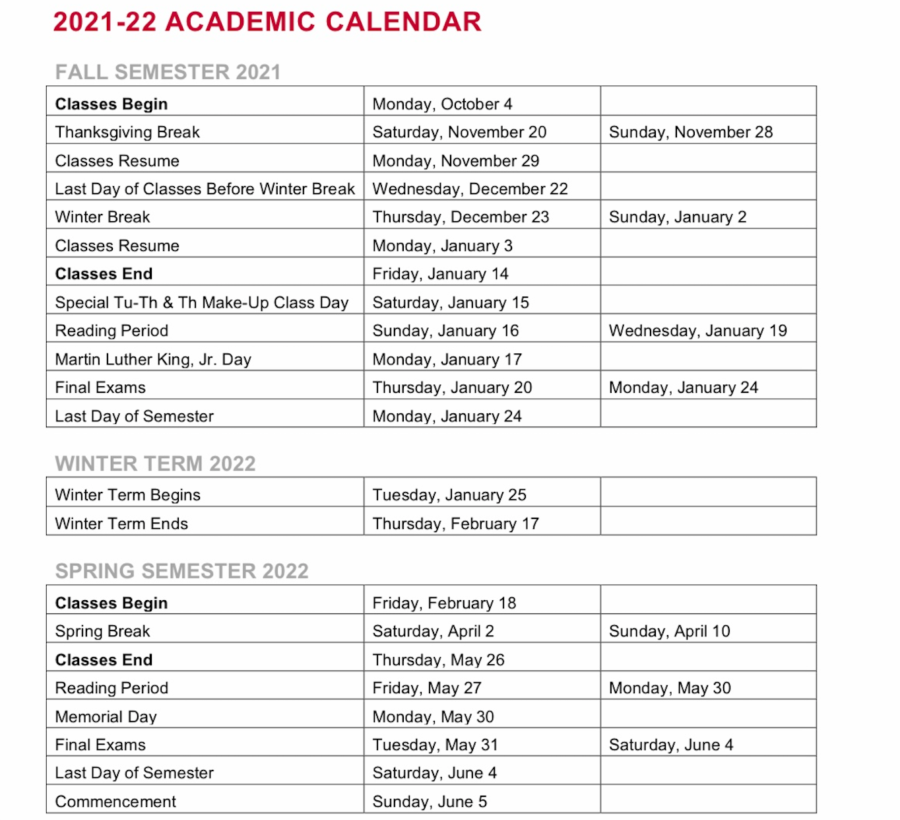 The College released the 2021-2022 academic calendar on Thursday. The new calendar reflects changes made to lengthen the break between the summer and fall semesters.