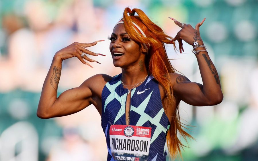 Sha'Carri Richardson winning the 100m at the US Olympic trials.