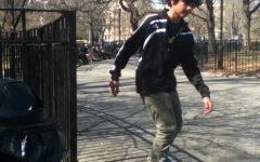 Young Kush Bulmer skateboarding.