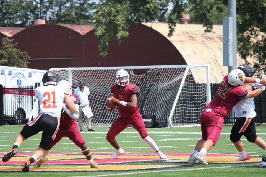 Oberlin College football team competing on home turf.