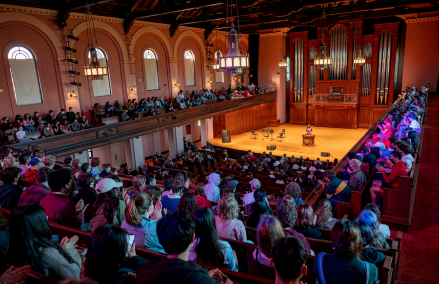 First-year students gather in Finney Chapel to listen to President Carmen Twillie Ambar's welcome messages.