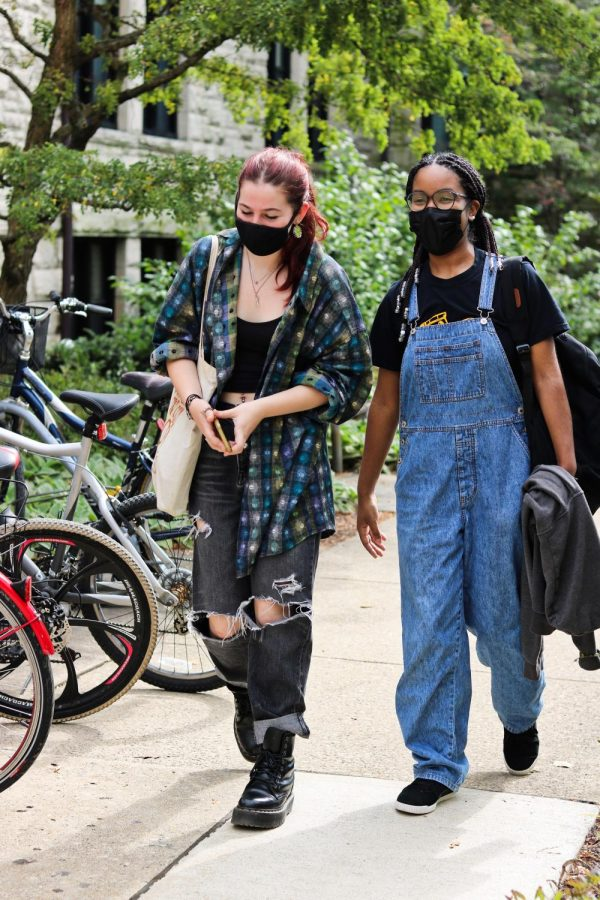 For the first two weeks of class, students are required to wear a mask in indoor and outdoor settings.