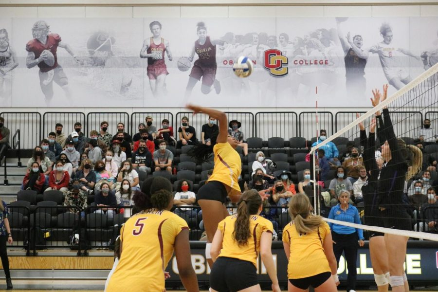 The Oberlin College volleyball team competed against Kenyon College on September 23.